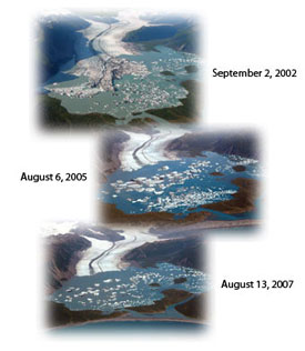 Bear Glacier from September 2, 2002 to August 13, 2007