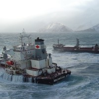 M/V Selendang Ayu aground and broken in two on the shore of Unalaska Island