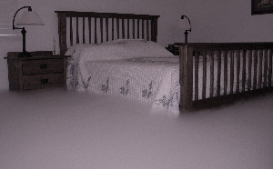 A simulated carbon dioxide cloud that has settled above the floor in a typical bedroom.