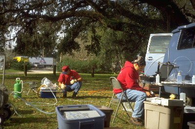 USGS scientists measured water-quality characteristics at a groundwater sampling site