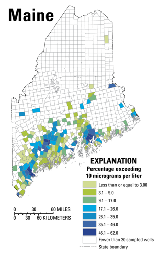 Map of Maine showing percentage of wells in each town with arsenic concentrations greater than 10 micrograms per liter
