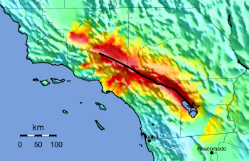 A map of southern California showing simulated shaking intensity.