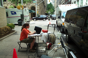 USGS scientist monitors an observation well being purged of its well bore contents, New York City.