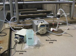 Equipment setup for filtering wastewater samples for enteric viruses.