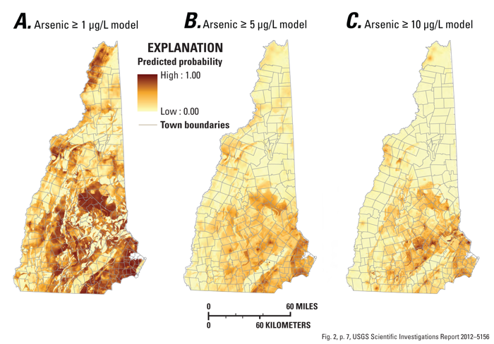 A map of the problity of arsenic in grouneware in N.H.