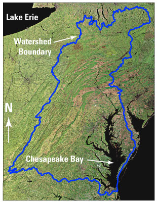 Aerial view of the Chessapeake Bay watershed. The wataershed is outlined.
