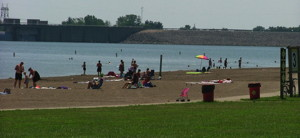 A view of Alum Creek State Park beach, Ohio.