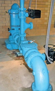 A large groundwater pump in a pump house