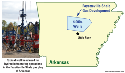 Map with location of gas production wells in Arkansas. Photo of well head is on left.