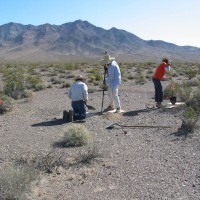 USGS scientists collecting a soil sample