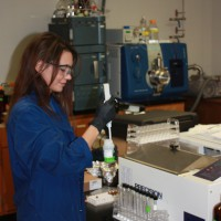 USGS scientist preparing water samples for glyphosate analysis