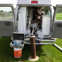 USGS sampling truck with equipment used to sample well water. A scientist is in the truck