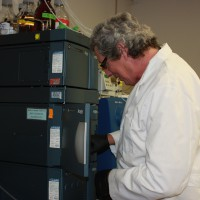 USGS scientists Dr. Michael T. Meyer in the labortory