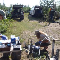 USGS scientists collecting a water sample from a well at the USGS Bemidji Research Site