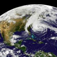 Natural-color satellite image of Hurricane Sandy