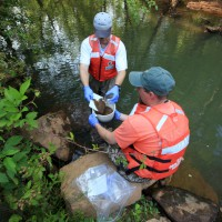 Scientists collecting bed-sediment samples from Suwanee Creek, Georgia