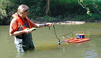 Picture of a scientist measuring streamflow in a small stream using acoustic technology.