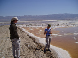 Photo of USGS workers testing for arsenic in Searles Lake, CA.
