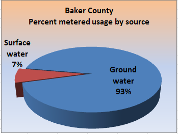Pie chart showing the percent metered usage, by