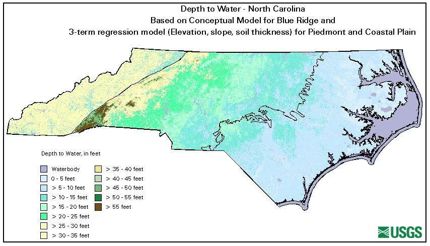 Estimated Depth To Water North Carolina